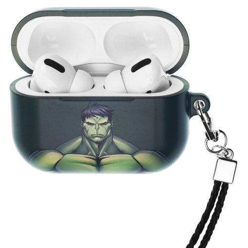 Marvel Avengers AirPods Pro Case Neck Lanyard Hard PC Shell Strap Hole Cover - Face Hulk