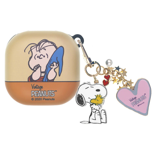 Peanuts Galaxy Buds Live Case (2020) Snoopy Key Ring Keychain Key Holder Hard PC Shell Cover - Face Linus