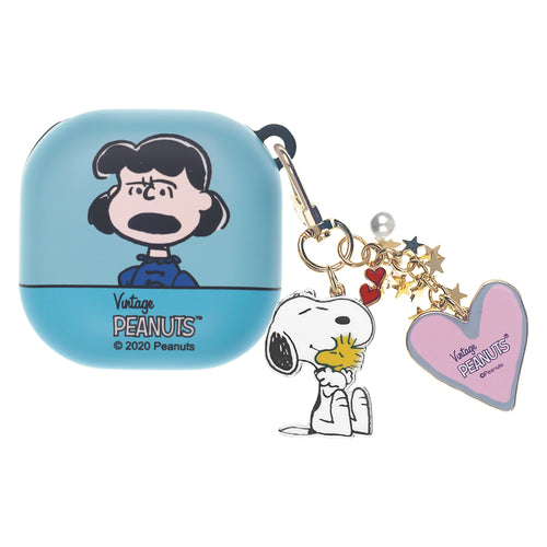Peanuts Galaxy Buds Live Case (2020) Snoopy Key Ring Keychain Key Holder Hard PC Shell Cover - Face Lucy
