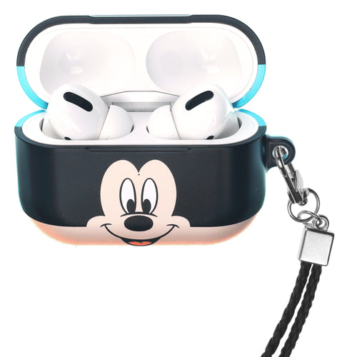 Disney AirPods Pro Case Neck Lanyard Hard PC Shell Strap Hole Cover - Face Mickey Mouse