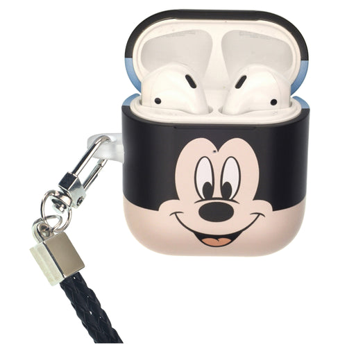Disney AirPods Case Neck Lanyard Protective Hard PC Shell Strap Hole Cover - Face Mickey Mouse