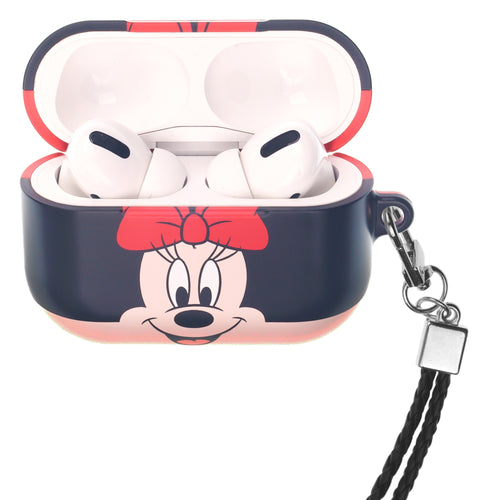 Disney AirPods Pro Case Neck Lanyard Hard PC Shell Strap Hole Cover - Face Minnie Mouse