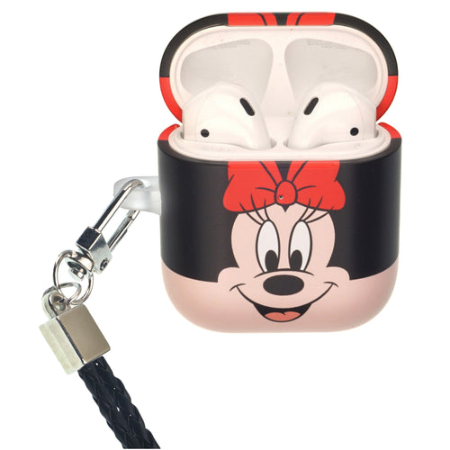 Disney AirPods Case Neck Lanyard Protective Hard PC Shell Strap Hole Cover - Face Minnie Mouse