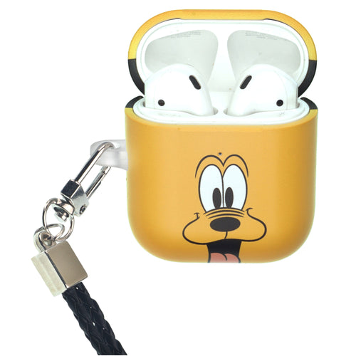 Disney AirPods Case Neck Lanyard Protective Hard PC Shell Strap Hole Cover - Face Pluto