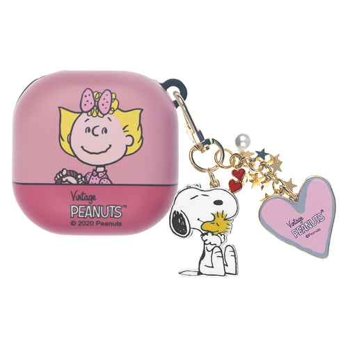 Peanuts Galaxy Buds Live Case (2020) Snoopy Key Ring Keychain Key Holder Hard PC Shell Cover - Face Sally
