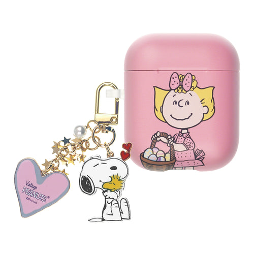 Peanuts AirPods Case Snoopy Key Ring Keychain Key Holder Hard PC Shell Strap Hole Cover Accessories - Face Sally