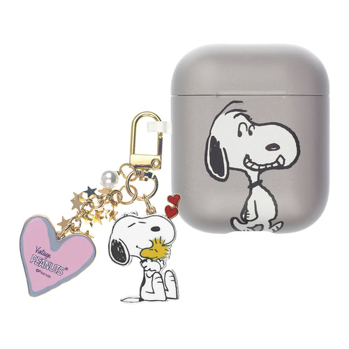 Peanuts AirPods Case Snoopy Key Ring Keychain Key Holder Hard PC Shell Strap Hole Cover Accessories - Face Snoopy