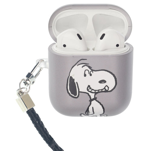 Peanuts AirPods Case Neck Lanyard Hard PC Shell Strap Hole Cover - Face Snoopy