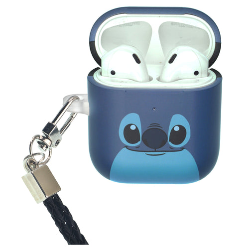 Disney AirPods Case Neck Lanyard Protective Hard PC Shell Strap Hole Cover - Face Stitch