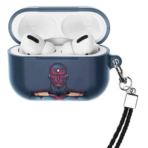 Marvel Avengers AirPods Pro Case Neck Lanyard Hard PC Shell Strap Hole Cover - Face Vision