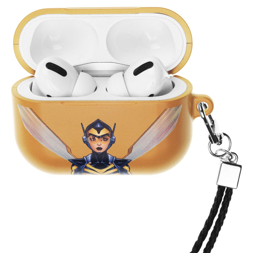 Marvel Avengers AirPods Pro Case Neck Lanyard Hard PC Shell Strap Hole Cover - Face Wasp