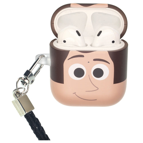 Disney AirPods Case Neck Lanyard Protective Hard PC Shell Strap Hole Cover - Face Woody