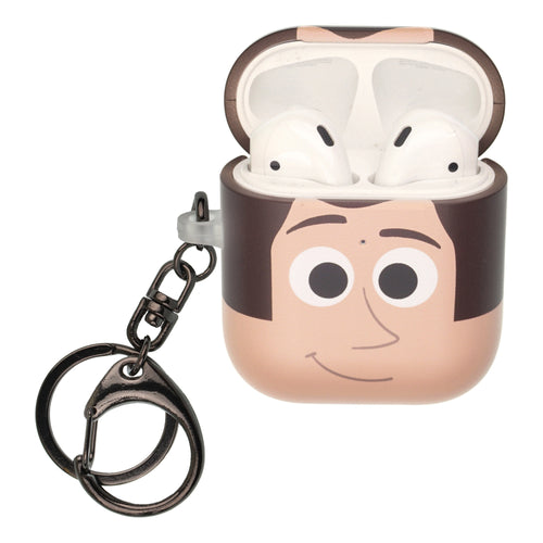 Disney AirPods Case Key Ring Keychain Key Holder Hard PC Shell Strap Hole Cover [Front LED Visible] - Face Woody