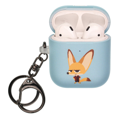 Disney AirPods Case Key Ring Keychain Key Holder Hard PC Shell Strap Hole Cover [Front LED Visible] - Zootopia Finnick