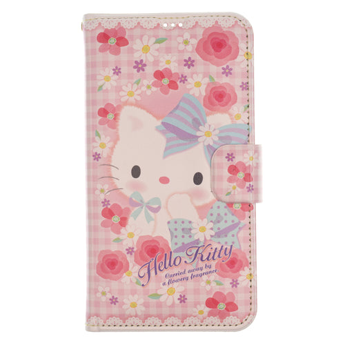 iPhone 12 mini Case (5.4inch) Sanrio Diary Wallet Flip Mirror Cover - Hello Kitty Flower