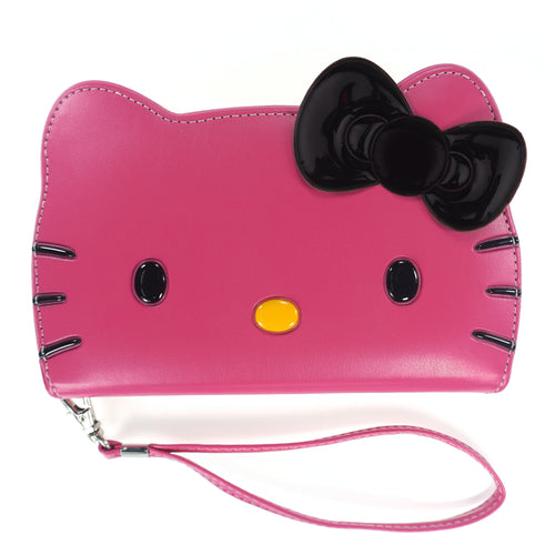 iPhone 12 mini Case (5.4inch) HELLO KITTY Diary Wallet Flip Strap Included Cover - Big Face Hot Pink