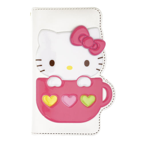 iPhone 12 mini Case (5.4inch) HELLO KITTY Diary Wallet Flip - Cup White