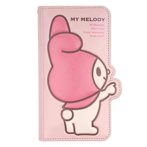 iPhone 12 mini Case (5.4inch) Sanrio Diary Wallet Flip Mirror Cover - My Melody Point Baby Pink