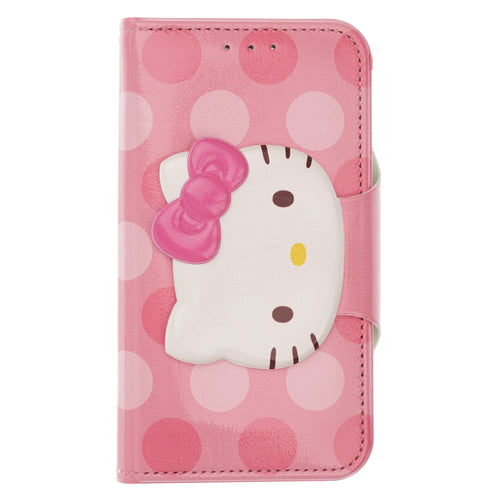 iPhone 12 mini Case (5.4inch) Sanrio Diary Wallet Flip Mirror Cover - Face Button Hello Kitty Hot Pink