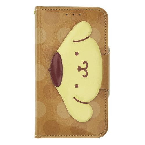 iPhone 11 Case (6.1inch) Sanrio Diary Wallet Flip Mirror Cover - Face Button Pompompurin Brown