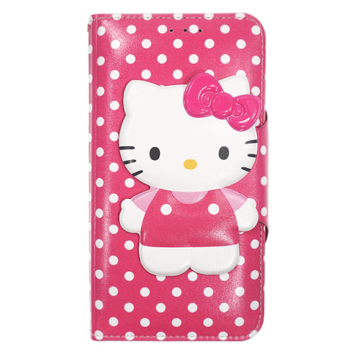 iPhone 12 mini Case (5.4inch) HELLO KITTY Diary Wallet Flip - Button Body Hot Pink