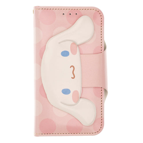 iPhone 12 mini Case (5.4inch) Sanrio Diary Wallet Flip Mirror Cover - Face Button Cinnamoroll Pink