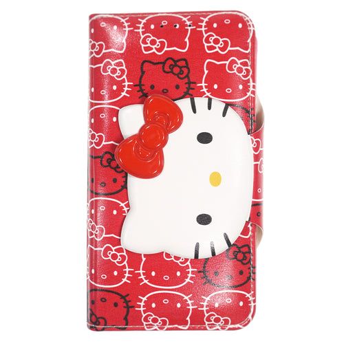 iPhone 12 mini Case (5.4inch) HELLO KITTY Diary Wallet Flip - Button Face Red