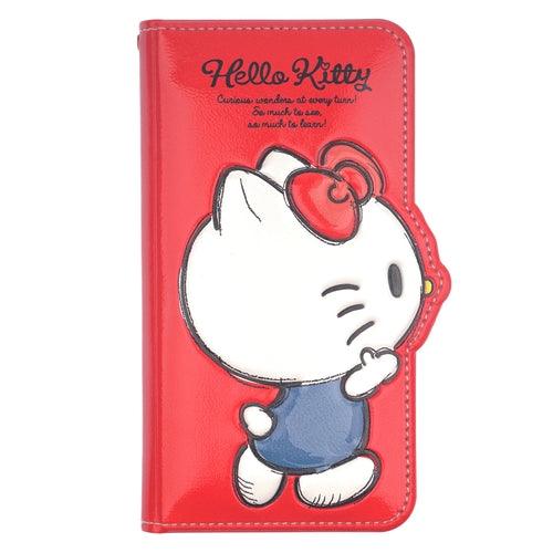 iPhone 12 mini Case (5.4inch) HELLO KITTY Diary Wallet Flip Mirror Cover - Walking Red
