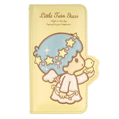 iPhone 12 mini Case (5.4inch) Sanrio Diary Wallet Flip Mirror Cover - Little Twin Stars Yellow