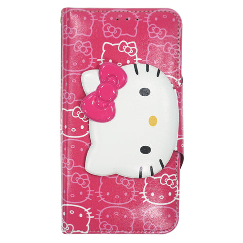 iPhone 12 mini Case (5.4inch) HELLO KITTY Diary Wallet Flip - Button Face Hot Pink