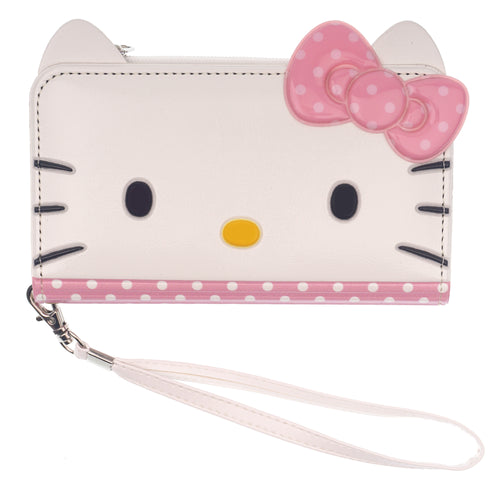 iPhone 12 mini Case (5.4inch) HELLO KITTY Diary Flip [ Double Sided Wallet ] Mirror Coin Pocket Cover - Wallet Face Spot Pink