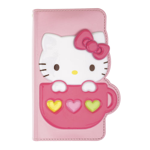 iPhone 12 mini Case (5.4inch) HELLO KITTY Diary Wallet Flip - Cup Baby Pink