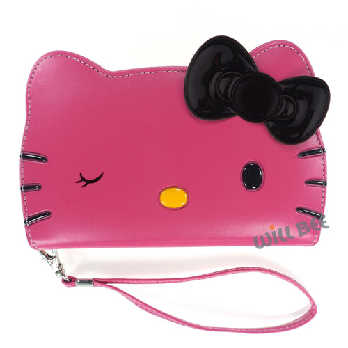 iPhone 12 mini Case (5.4inch) HELLO KITTY Diary Wallet Flip Strap Included Cover - Big Face Wink Hot Pink