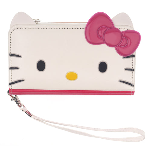 iPhone 12 mini Case (5.4inch) HELLO KITTY Diary Flip [ Double Sided Wallet ] Mirror Coin Pocket Cover - Wallet Face Hot Pink