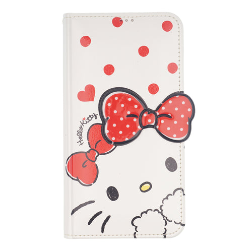 iPhone 12 mini Case (5.4inch) HELLO KITTY Diary Wallet Flip Stand Function Mirror Cover - Shy White Ribbon Red
