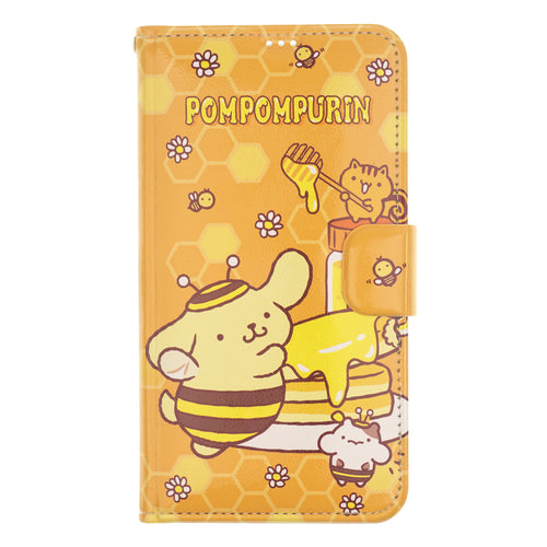 iPhone 12 mini Case (5.4inch) Sanrio Diary Wallet Flip Mirror Cover - Pompompurin Honey Cake