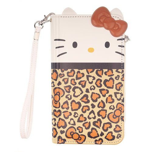 iPhone 12 mini Case (5.4inch) HELLO KITTY Diary Flip [ Double Sided Wallet ] Mirror Coin Pocket Cover - Wallet Body Brown