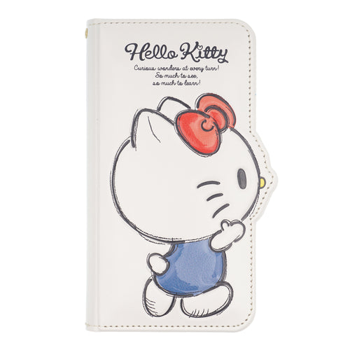 iPhone 12 mini Case (5.4inch) HELLO KITTY Diary Wallet Flip Mirror Cover - Walking White