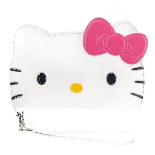 iPhone 11 Case (6.1inch) HELLO KITTY Diary Wallet Flip Strap Included Cover - Big Face White