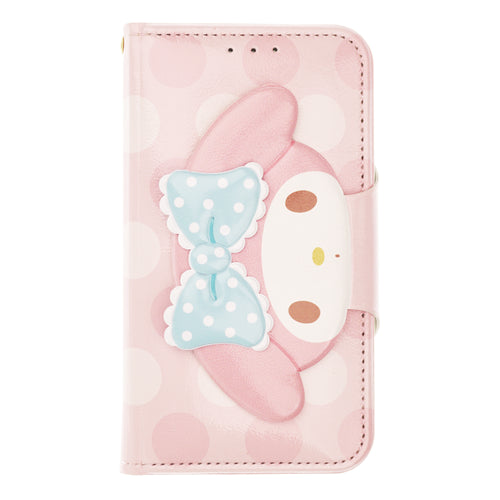 iPhone 12 mini Case (5.4inch) Sanrio Diary Wallet Flip Mirror Cover - Face Button My Melody Pink