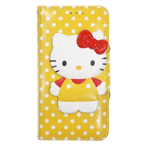 iPhone 12 mini Case (5.4inch) HELLO KITTY Diary Wallet Flip - Button Body Yellow