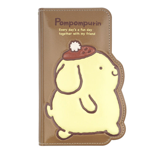 iPhone 12 mini Case (5.4inch) Sanrio Diary Wallet Flip Mirror Cover - Pompompurin Walking Brown