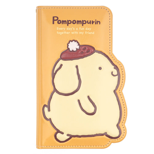iPhone 12 mini Case (5.4inch) Sanrio Diary Wallet Flip Mirror Cover - Pompompurin Walking Yellow