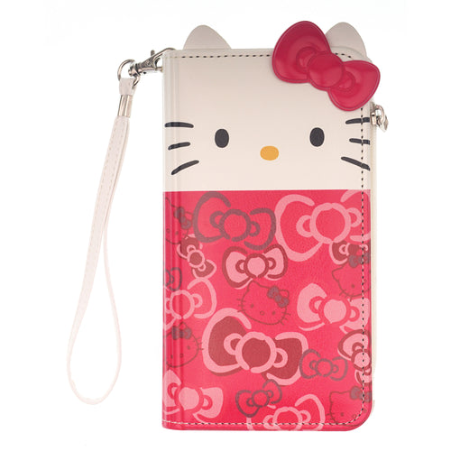 iPhone 12 mini Case (5.4inch) HELLO KITTY Diary Flip [ Double Sided Wallet ] Mirror Coin Pocket Cover - Wallet Body Ribbon Pink