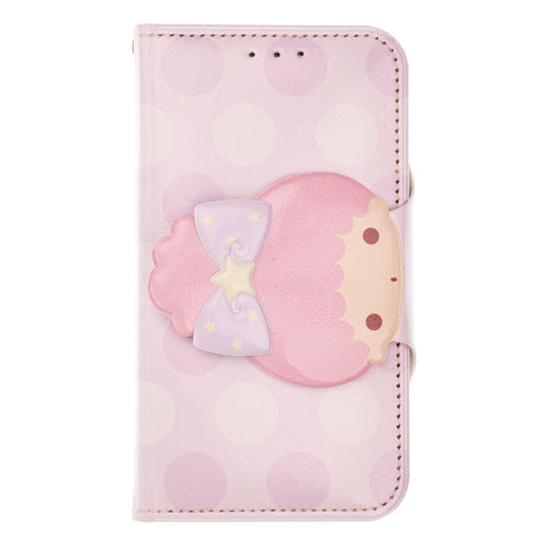 iPhone 12 mini Case (5.4inch) Sanrio Diary Wallet Flip Mirror Cover - Face Button Little Twin Stars Lala