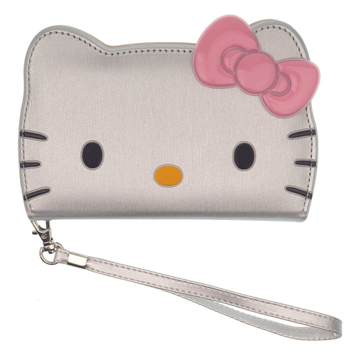 iPhone 11 Case (6.1inch) HELLO KITTY Diary Wallet Flip Strap Included Cover - Big Face Silver