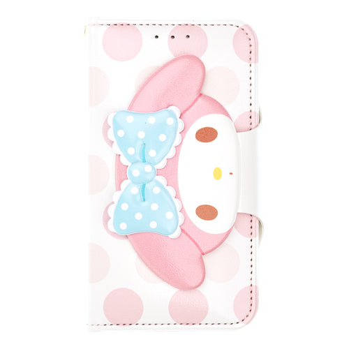 iPhone 12 mini Case (5.4inch) Sanrio Diary Wallet Flip Mirror Cover - Face Button My Melody White