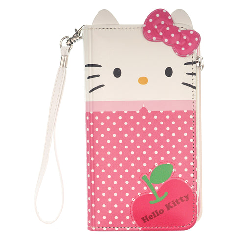 iPhone 12 mini Case (5.4inch) HELLO KITTY Diary Flip [ Double Sided Wallet ] Mirror Coin Pocket Cover - Wallet Body Spot Pink