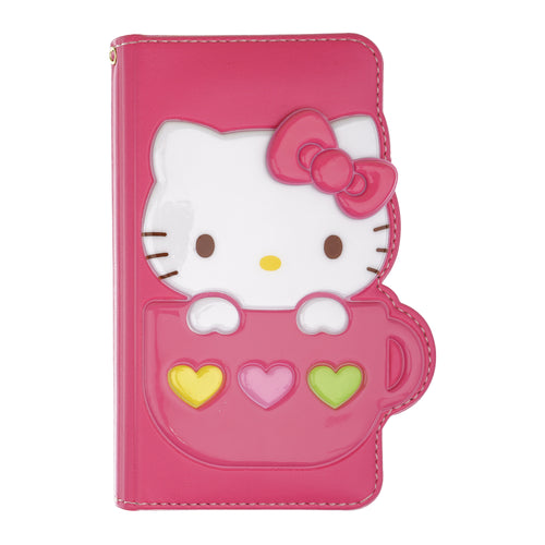 iPhone 12 mini Case (5.4inch) HELLO KITTY Diary Wallet Flip - Cup Hot Pink