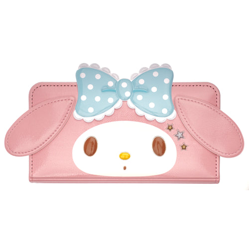 iPhone 12 mini Case (5.4inch) Sanrio Diary Wallet Flip Mirror Cover - My Melody Face Baby Pink